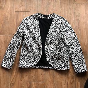 H&M black and white leopard blazer size XS